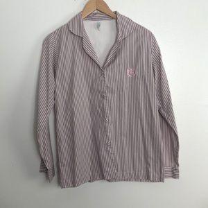 Izod women's button up longsleeve pink/gray blouse